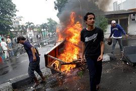 أعمال شغب تشهدها إندونيسيا بسبب نتائج