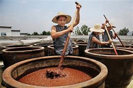 صينيون يعدون صلصة الصويا الأصلية بطريقة
