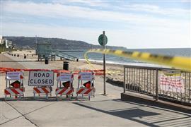 إغلاق الشواطئ العامة في كاليفورنيا بسبب