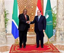 استقبال الرئيس السيسي لنظيره الجنوب إفريقي بقصر الاتحادية الرئاسي