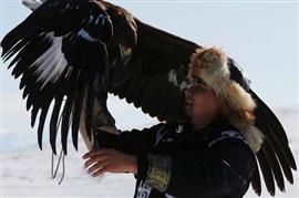 مسابقة صيد تقليدية خارج قرية كينار في كازاخستان