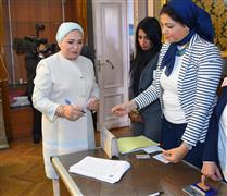 قرينة الرئيس انتصار السيسي تدلي بصوتها في الاستفتاء على التعديلات الدستورية