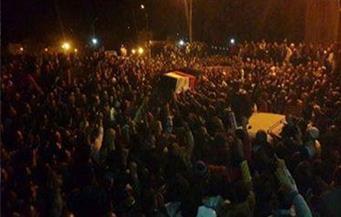 """الآلاف من أهالي قرية """"كفر حجازي"""" بالمحلة يشيعون جثمان """"رقيب شرطة"""" شهيد إرهاب سيناء"""