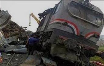 """خروج 3 عربات من قطار بضائع محمل بـ """" القمح"""" في طنطا"""
