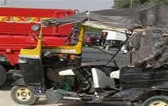 """إصابة ٣ مواطنين فى حادث تصادم """"توك توك"""" بسيارة ملاكى بدمياط"""