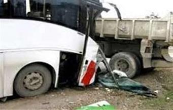 إصابة 13 شخصًا فى حادث تصادم أتوبيس فرقة أحمد شيبة مع عدد من السيارات بالبحيرة