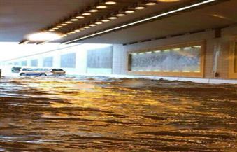 تجمعات مياه عند نفق التسعين وأبراج سما نتيجة سقوط الأمطار