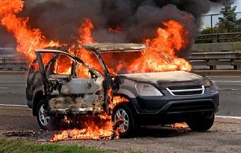 اشتعال النيران في سيارة ملاكي بطريق السويس الصحراوي