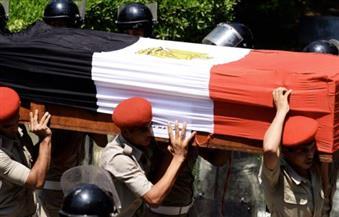 جنازة عسكرية واحدة لشهيدى المنوفية من مسجد الأنصار