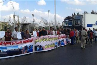 بالصور.. وقفة لسائقي النقل الدولي بسياراتهم بمدخل المنصورة احتجاجًا على وقف السعودية تأشيراتهم