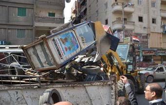 """حي المرج يزيل الإشغالات أمام محطة مترو """"عزبة النخل"""""""