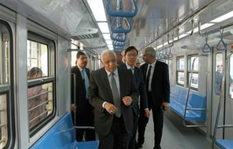"""بالصور.. وزير النقل يشهد دخول ماكينة حفر النفق """"إمحوتب"""" محطة الألف مسكن ويدشن القطار رقم 20"""