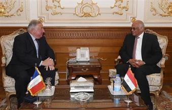 بالصور.. مواجهة الإرهاب والهجرة غير الشرعية يتصدران مباحثات عبدالعال ورئيس مجلس الشيوخ الفرنسي