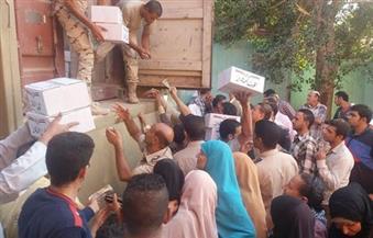توزيع 8 آلاف كرتونة للقوات المسلحة بقرى في الفيوم