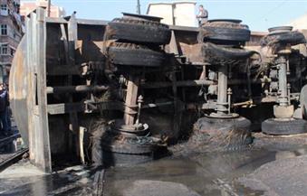 """""""صحة القليوبية"""": إصابة 12 مواطنًا في حادث اشتعال سيارة السولار على طريق مسطرد"""