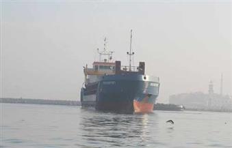 """وصول السفينة """"روش فورت"""" محملة بأربعة محركات لتشغيل محطة كهرباء """"البرلس"""""""