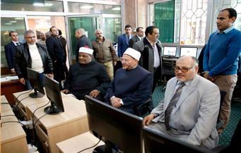 وكيل الأزهر والمفتي ورئيس الجامعة يتفقدون المكتبة المركزية بجامعة الأزهر