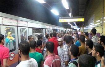 عطل في قطار ٤٩٠ بمحطة مترو الدقي بسبب شد بلف الطوارئ
