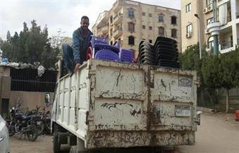 بالصور.. حملة لإزالة الإشغالات والمباني المخالفة في هضبة الأهرام