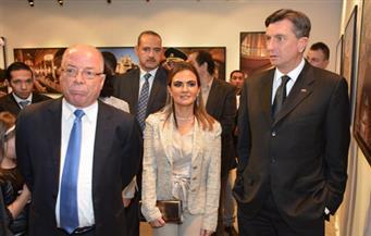 """بالصور.. وزير الثقافة والرئيس السلوفينى يفتتحان معرض """"ضفاف النيل"""" بمركز الهناجر"""