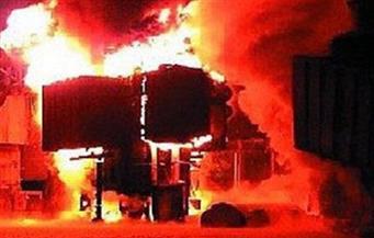 انفجار بمحول كهرباء واحتراق سيارة ملاكي في الشيخ زايد