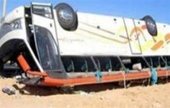 """إصابة 23 تلميذًا ومشرفين في حادث انقلاب أتوبيس بطريق """"أسيوط - الغنايم"""""""