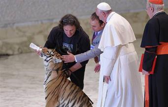 """شاهد بالفيديو.. البابا فرنسيس والنمر في """"وصلة سيرك"""" بساحة الفاتيكان"""