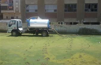 """بعد مانشرته """" بوابة الأهرام"""".. إزالة مياه الصرف من حوش مدرسة كفر حجازى الإعدادية بنات بالمحلة"""