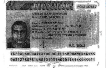 """""""الديلى ميل"""" تنشر صورة بطاقة الإقامة لـ """"بوهلال"""" المتهم بتنفيذ هجوم نيس"""