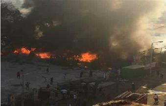 حريق ضخم يلتهم معرض المنتجات السورية بجوار حديقة شجرة الدر في المنصورة