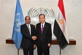 """""""بان كي مون"""" يشيد في لقائه السيسي بجهود الرئيس لتدعيم الاستقرار بمصر وتحقيق السلام بالشرق الأوسط"""
