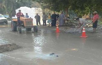"""بالصور.. انفجار ماسورة مياه رئيسية يتسبب في غرق شوارع """"مشلة"""" بكفرالزيات"""