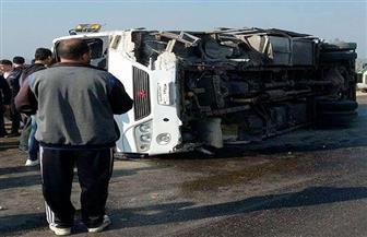إصابة 12 عاملا في انقلاب سيارة رحلات بطريق برج العرب بالإسكندرية