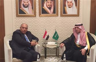 اجتماع ثنائي تشاوري بين شكري والجبير خلال جلسة الوزارء العرب الطارئة بشأن القدس