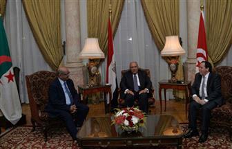 بدء الاجتماع الثلاثي المصري - الجزائري - التونسي بشأن ليبيا بمقر وزارة الخارجية المصرية | صور