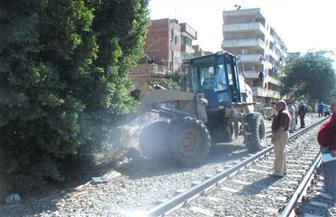 أمن المنوفية يشن حملة لإزالة التعديات على أملاك السكك الحديدية في نطاق المحافظة | صور