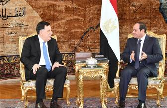 """الرئيس السيسي خلال لقاء السراج: الاتفاق السياسي """"حجر الزاوية"""" لعودة الاستقرار إلى ليبيا"""