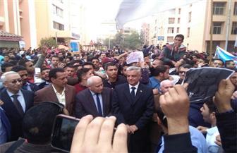 مسيرة طلابية بجامعة المنوفية للتنديد بالقرار الأمريكي بشأن القدس| صور