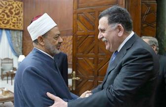 """شيخ الأزهر لـ""""السراج"""": دعم ليبيا واجب ديني وقومي"""