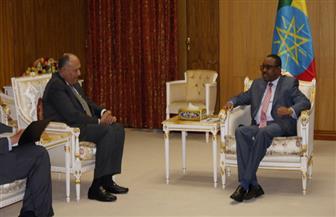 شكري يلتقي رئيس الوزراء الإثيوبي خلال زيارته أديس أبابا | صور