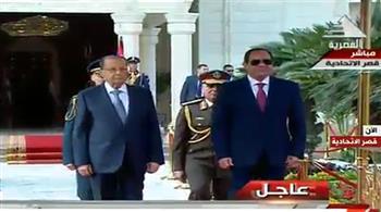 تفاصيل استقبال ومباحثات السيسي والرئيس اللبناني بقصر الاتحادية