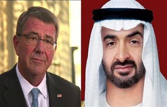 وزير الدفاع الأمريكي وولي عهد أبوظبي يبحثان علاقات التعاون في الشئون العسكرية