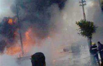 اشتعال النيران في سيارة محملة بـ50 طن زيت بالطريق الدائري بالهرم