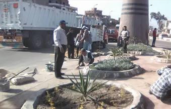 """بالصور.. رئيس """"المحلة"""" يطالب باستكمال أعمال تطوير وإنارة مدخل المدينة"""