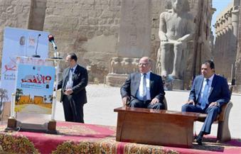 بالصور.. ننشر تفاصيل المؤتمر الصحفي الذي عقده وزير الثقافة داخل معبد الأقصر