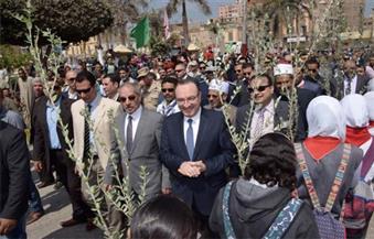 بالصور.. في عيد بني سويف القومي.. حبيب والتونسي يضعان أكاليل الزهور على قبر الجندي المجهول