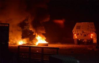 """بالصور.. قوات الأمن تستخدم الغاز المسيل للدموع لتفريق محتجين على محطة صرف بـ""""الصوامعة شرق"""""""