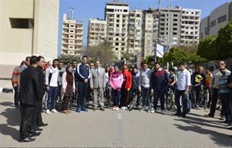 ماراثون للدراجات بجامعة المنصورة ضمن فعاليات أسبوع مكافحة الفساد
