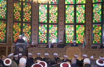 بالصور.. المفتي في كلمته أمام مؤتمر بلبنان يدعو للتكاتف لوأد فتن الإرهاب