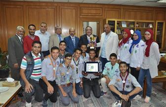 """""""نجم"""" يستقبل طلاب جامعة حلوان بعد الفوز بدورة الجامعات للجوالة   صور"""